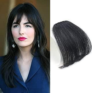Reysaina Clip in Bangs Real Human Hair Natural Black #1B Fringe Hairpiece Clip on Bangs for Black Women