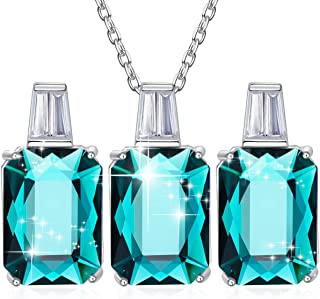 Jewelry Set 925 Sterling Silver Embellished with Crystals from Swarovski Sapphire Fine Necklace Earrings Sets Gift for Women
