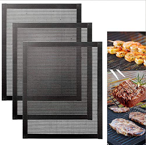 Cozywind BBQ Grillmatte 3er-Set Grillen Mesh Matte Antihaft Wiederverwendbar Teflon Grillmatte Backmatte für Holzkohle & Backen 40x33cm