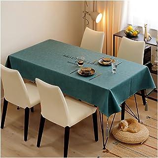 长方形テーブル クロス デスクマット マット レザーファブリック北欧 拨水 防水 厚手 耐热 PU素材 おしゃれ 高级感と品を兼ね备えてる (Size:130*210cm,Color:緑)