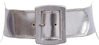 "Women's 2 1/2"" (64 mm) Wide Elastic High Waist Leather Stretch Belt"