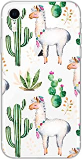 iPhone XR Case,Blingy's New Cute Animal Style Transparent Clear Protective Soft TPU Rubber Case Compatible for iPhone XR (Llama Cactus)