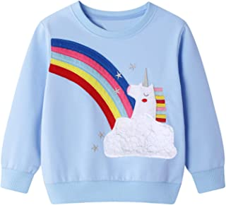 Little Hand Toddler Girls Sweatshirts Dinosaur Unicorn Cotton Hoodies Long Sleeve Kids Pullover Tops