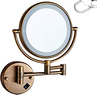 LED Lighted Makeup/Vanity Mirror, 3X Magnifying Bathroom Mirror Wall Mount Cosmetic Mirror Shaving in Bedroom or Bathroom Powered by Plug,Antique_8inch