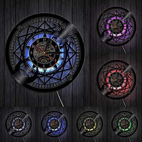 Relógio de parede Jupiter de vinil para decoração de casa, sol e lua retrô com disco de vinil, relógio cosmográfico, presente de astrologia com LED
