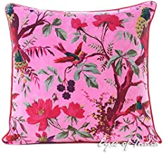 Eyes of India - 16 Pink Velvet Bird Colorful Throw Sofa Cushion Couch Pillow Cover Boho Bohemian Indian Cover ONLY
