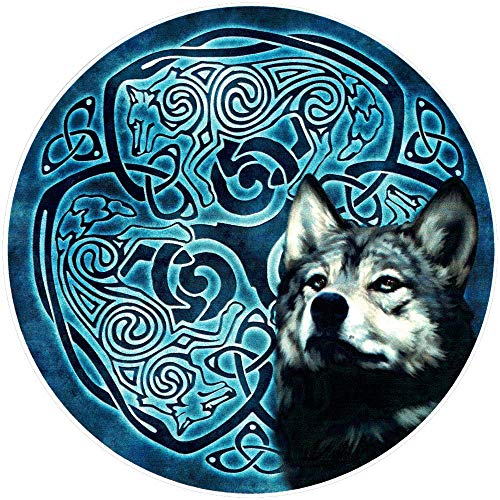 Wolf Knot Celtic - Circular Bumper Sticker/Decal (4.5' x 4.5')