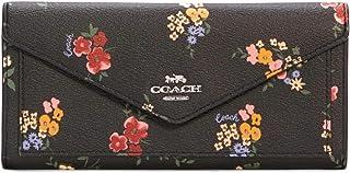 COACH Womens Slim Envelope Soft Wallet With Floral Print, Black Multi, Slim Wallet