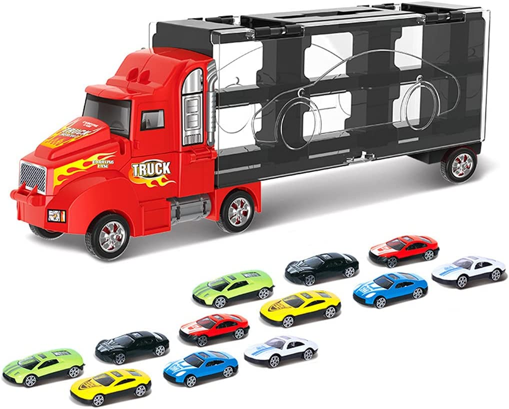 Max 60% OFF Kansas City Mall Truck Transport Car Toy Carrier with 12 One Cars Eco- Alloy Mini