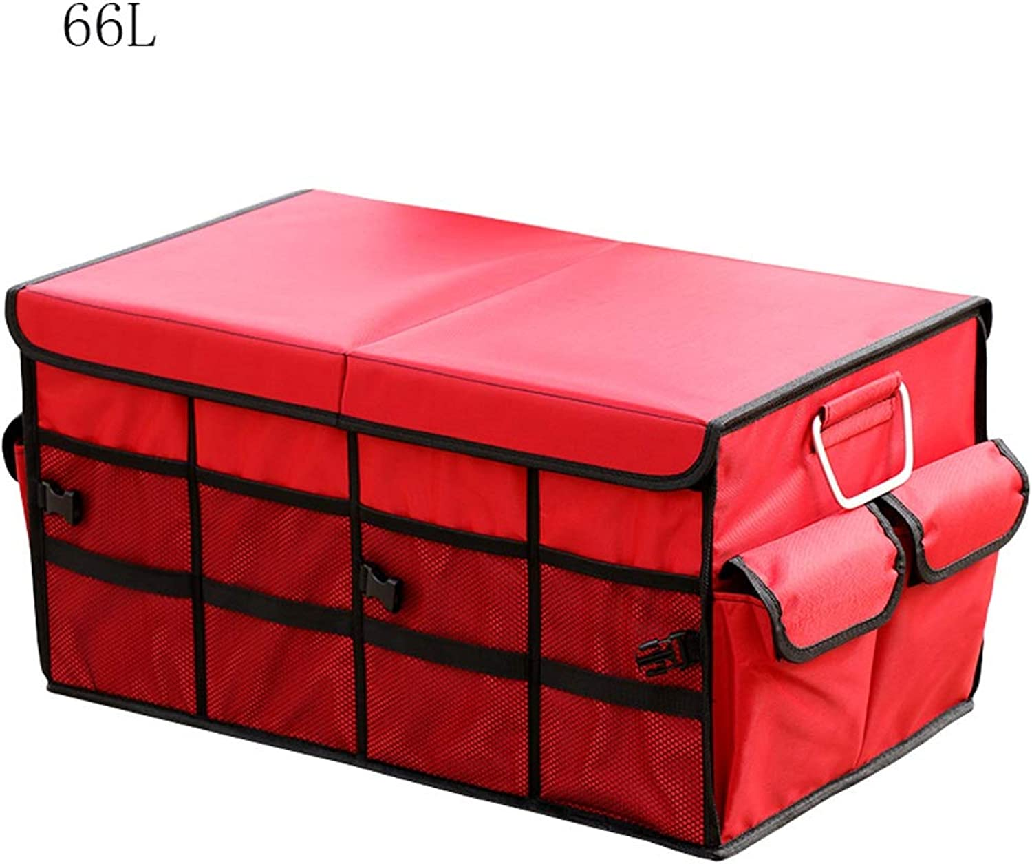 AXWT 66L Multi-Function Box Red Foldable Storage Box Trunk Storeage Compartment Household Car Use Sort Out Trash Box Oxford Cloth (Capacity   66L)