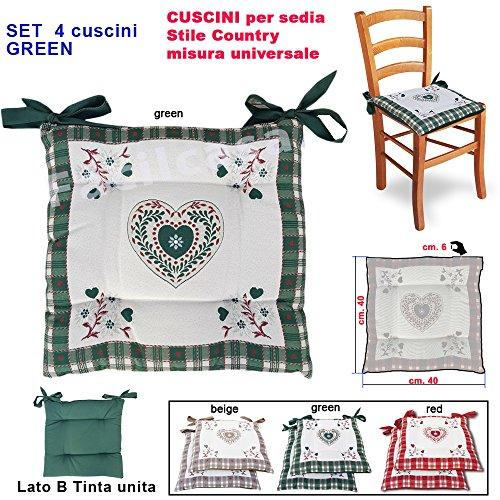 FACILCASA Cuscino per Sedia Imbottito, Modello Cuori Tirolese Double Face. Art CuoriTirol