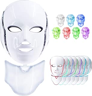 Led Face Mask, 7 Colors Led Light Photon Therapy Mask Beauty Machine Proactive Whitening Skin Care Firming Skin Anti Aging Kit with US Plug