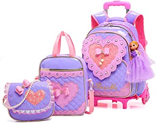 Rolling Backpack for Girls with Pencil Case&Lunch Bag School Bags Trolley Wheeled Backpacks,Purple
