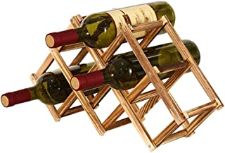 afdg Porte Bouteille Pliable en Bois, Casier à Bouteille en Bois, Casier à vin en Bois Massif Diamant pour Cuisine à Domic...