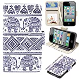 iPhone 4s Case, iPhone 4 case, MagicSky iPhone 4/4S Wallet Case, Premium PU Leather Funny Case Flip Cover with Card Slots & Stand for iPhone 4/4S, Elephant2