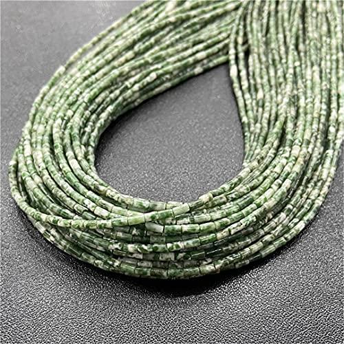 4 x 2 mm piedras naturales de jade cuentas de cilindro sueltas de piedra para hacer joyas DIY Chakra pulsera accesorios 15.5 pulgadas NO5 jaspe verde 2 x 4 mm alrededor de 85 piezas