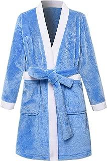 zhbotaolang Boy Girl Casual Bathrobe Loose Warm Wrap Dressing Gown(Bule/150CM)
