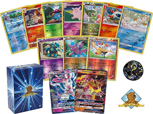 Pokemon 50 Count All FOILS Bundle! Featuring 1 Pokemon GX! in Every Bundle! 1 Pokemon Coin! Includes Golden Groundhog Deck Box