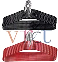 Vrct Heavy Stainless Steel Cloth Hanger with Plastic Coating (10Red + 10 Black = 20)