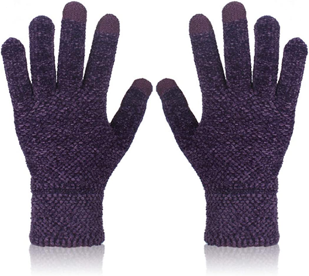 COSYOO Women Warm Knit Touch Screen Gloves Chenille Knit Gloves Anti Skidding Gloves Thermal Winter Gloves