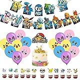 Set de Fiesta de Cumpleaños, 50 Piezas Decoración de Fiesta de Niños Globos de Latex Niños Pancartas Cumpleaños Adornos de Pastel para Fiesta de Cumpleaños Niños