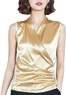 GAGA Womens Wrap V Neck Summer Silk Tank Top Sleeveless Shirts Blouse