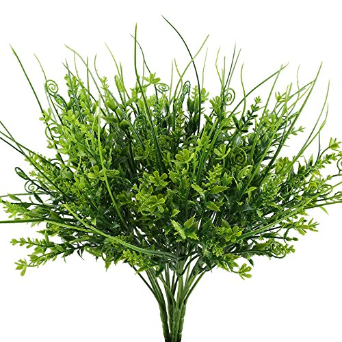 Nahuaa Artificial Outdoor Plants, 4PCS Fake Greenery Bush Faux Plastic Wheat Grass Shrubs Table Centerpieces Arrangements Home Kitchen Office Windowsill Spring Decorations