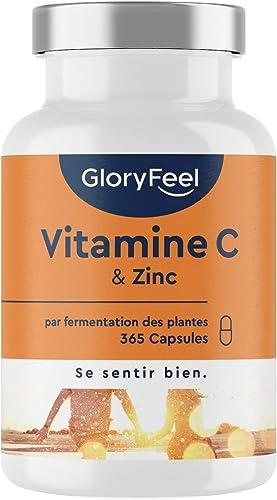 Vitamine C + Zinc - 365 Capsules - 1000mg Vitamine C Tamponné Doux pour l'Estomac PLUS 20mg de Zinc pur - Système Imm...
