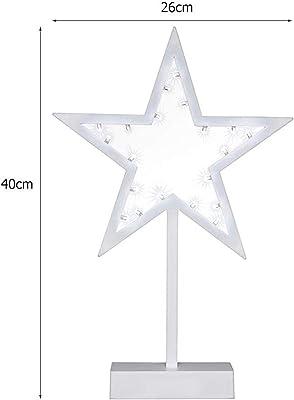 装飾ランプ スター型LEDナイトランプホワイトフレーム暖かい白テーブルクリエイティブスターナイトランプスタンドホームルームクリスマスの装飾キッズギフト (Emitting Color : Warm White)