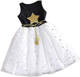 K-youth Vestido Niñas, Lindo Vestidos de Fiesta para niñas Patrón de Estrella Vestido Plisado Tutú Princesa Vestido para n...