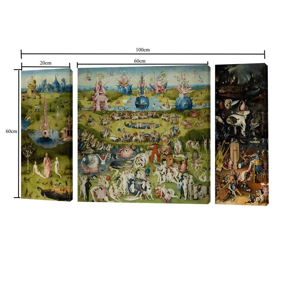Fajerminart 3 Paneles Cuadro De Madera Pintura - Famous The Garden of Earthly Delicias Cielo/Mundo / Infierno Cuadro En Lienzo Tamaño Total 100x60cm (20x60cm + 60x60cm + 20x60cm)(Marco De Madera): Amazon.es: Hogar