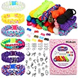 Mukum 20 Colors Paracord Friendship Bracelets Kit for Kids, DIY Charm Friendship Bracelet Kit for Boys Girls Age 8+, Make Your Own Rope Bracelet Charm Jewelry Arts and Craft for for Teens Stuff