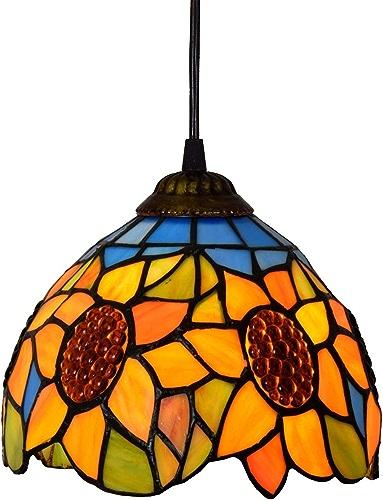 KCoob Lustre Pas Cher Lampe Florale Jaune Motif De Tournesol Rétro Couverture De Lampe Naturel Chaud Ombre