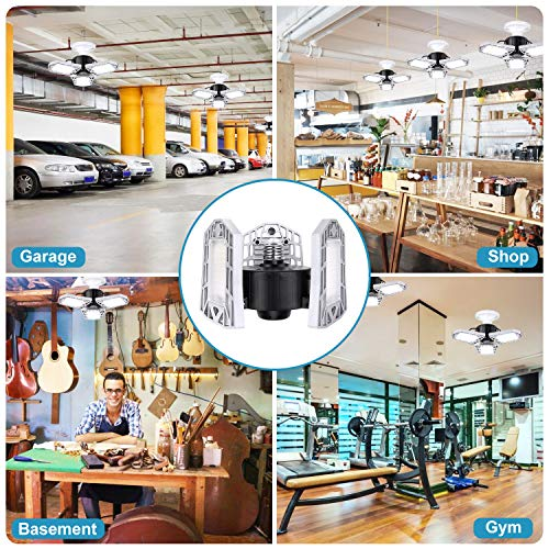 LED Garage Lights 80W Deformable 2 Pack 8000LM Three Leaf Triple Glow Close to Ceiling Light Fixtures E26 E27 Screw in Lighting for Work Shop Warehouse Low Bay New Arrival, No Motion Activated 7