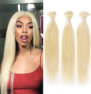 613 Blonde Human Hair 3 Bundles Straight Hair Weave 100% Unprocessed Brazilian Virgin Human Hair WeaveDouble Weft Silky Straight Blonde Hair Bundles 300g/lot blonde hair extensions(16 18 20inch)