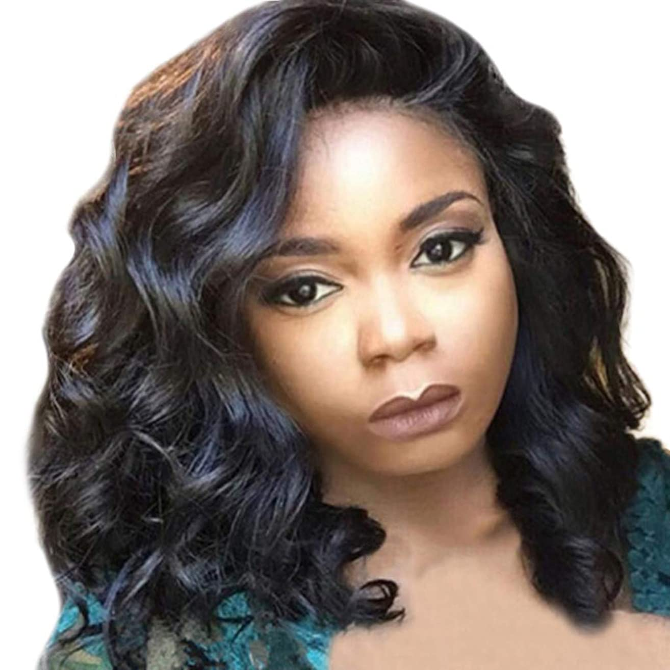Women Long Wavy Curly Wig Fudule Synthetic Fiber Hair Heat Resistant Human Hair for Black Women Brazilian Full Wigs on Sale (Black C)