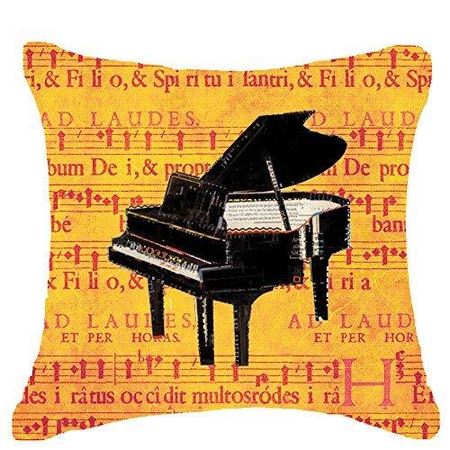 Kussensloop Europa klassieke Muziekinstrumenten piano Bladmuziek klaslokaal Kussensloop Katoen Linnen Materiaal Decoratief 18 x 18 Vierkant (18x18 inch)