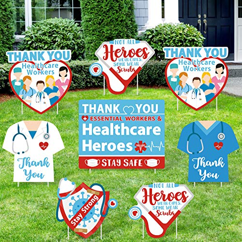 Huray Rayho Party 8 Pack Thank You Healthcare Workers Yard Signs Front Garden Lawn Boards Quarantine Medical Staff Appreciation Indoor/Outdoor Social Distance Decorations