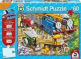 Schmidt Spiele 55407  - Puzzle, Thomas y Sus Amigos, en el Sitio de construcción, 60 Partes + cifra Thomas