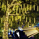 Twinkle Meteor Shower Rain Lights, 30cm 8 Tubes Falling Raindrop Fairy Lights, Waterproof Plug in Icicle String Christmas Lights for Halloween Christmas Holiday Party Patio Outdoor Decor, Warm White