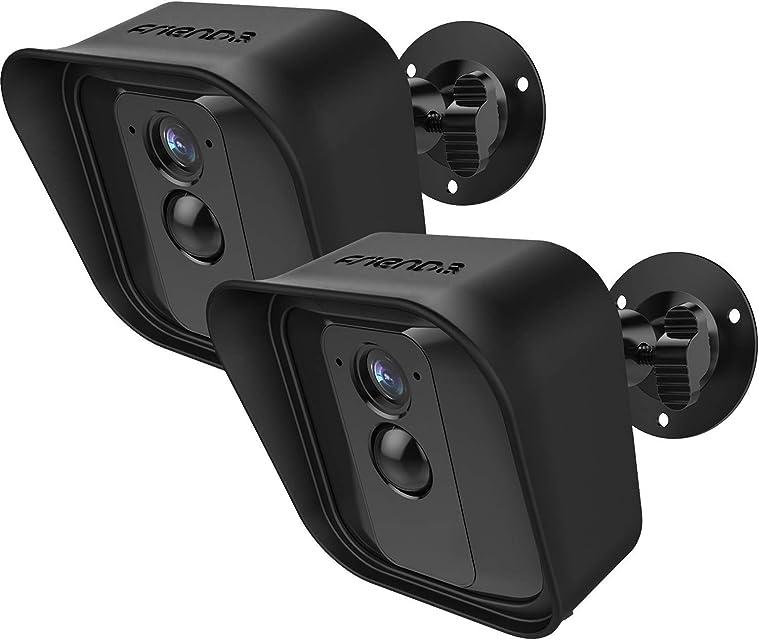 Soporte de Montaje de Pared Ajustable de 360 Grados y Piel Protectora de Silicona para Cámara de Seguridad Interior/Exterior Blink XT (2 Negro)