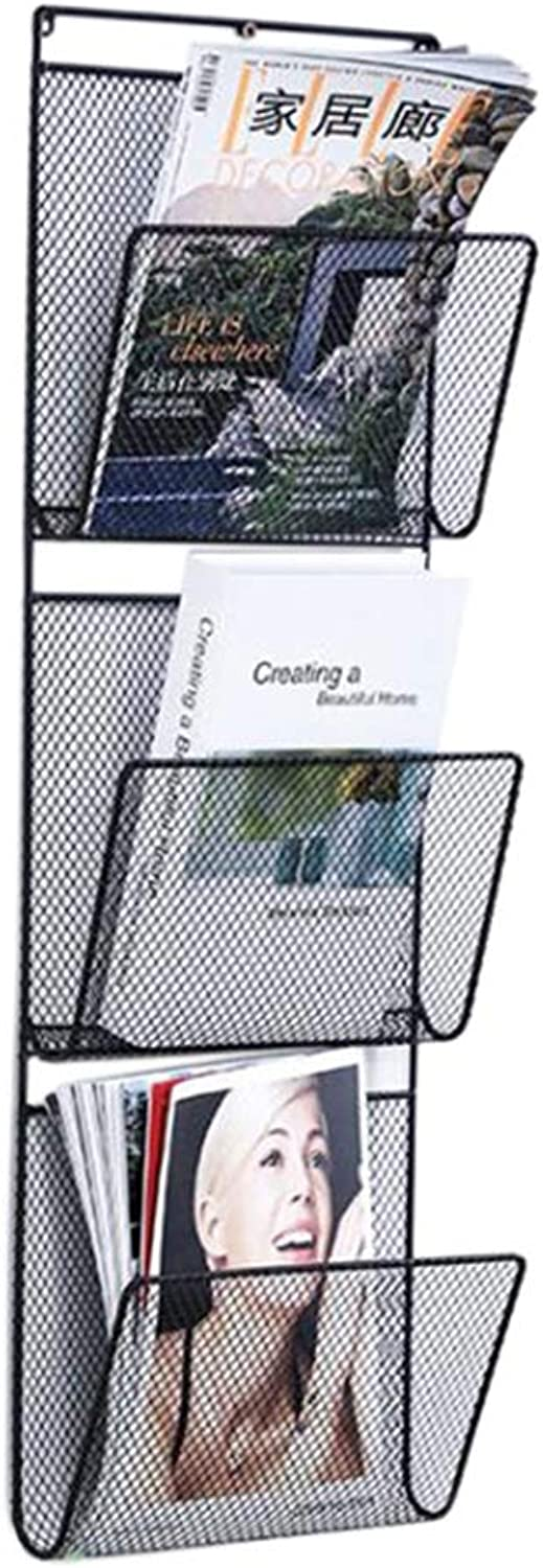 JCAFA Shelves Wrought Iron Wall Magazine Rack Modern Wall Mount Magazine Newspaper Creative Bookshelf, Three-Tier Bookshelf (color   Black, Size   11.41  3.93  33.07in)