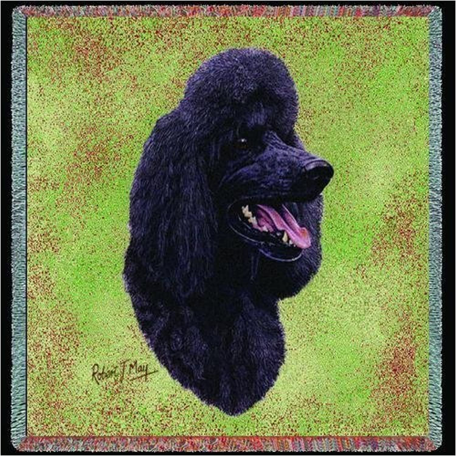 Pure Country 3312LS Black Poodle Pet Blanket, Canine on Beige Background, 54 by 54Inch by Pure Country