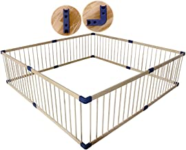 Play yard Extra Large Foldable Wooden Baby Playpen with Walk-Through Door in Two Directions, Security Fence (Size : 160x200cm)