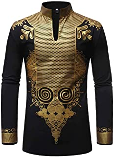 MODOQO Men's African Shirt,Casual Long Sleeve Button Down Slim Fit Printed Henley T Shirt