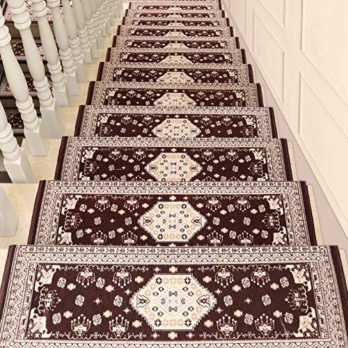 Alfombras de escalera Juego de alfombras adhesivas antideslizantes for la banda de rodadura de la escalera jacquard Juego de alfombras de la escalera Estera floral estilo múltiple (26X75 cm (10.2X29.5