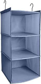 IsHealthy Hanging Closet Organizer, Easy Mount Foldable 3-Shelf Hanging Closet Wardrobe Storage Shelves, Clothes Handbag Shoes Accessories Storage, Washable Oxford Cloth Fabric, Gray