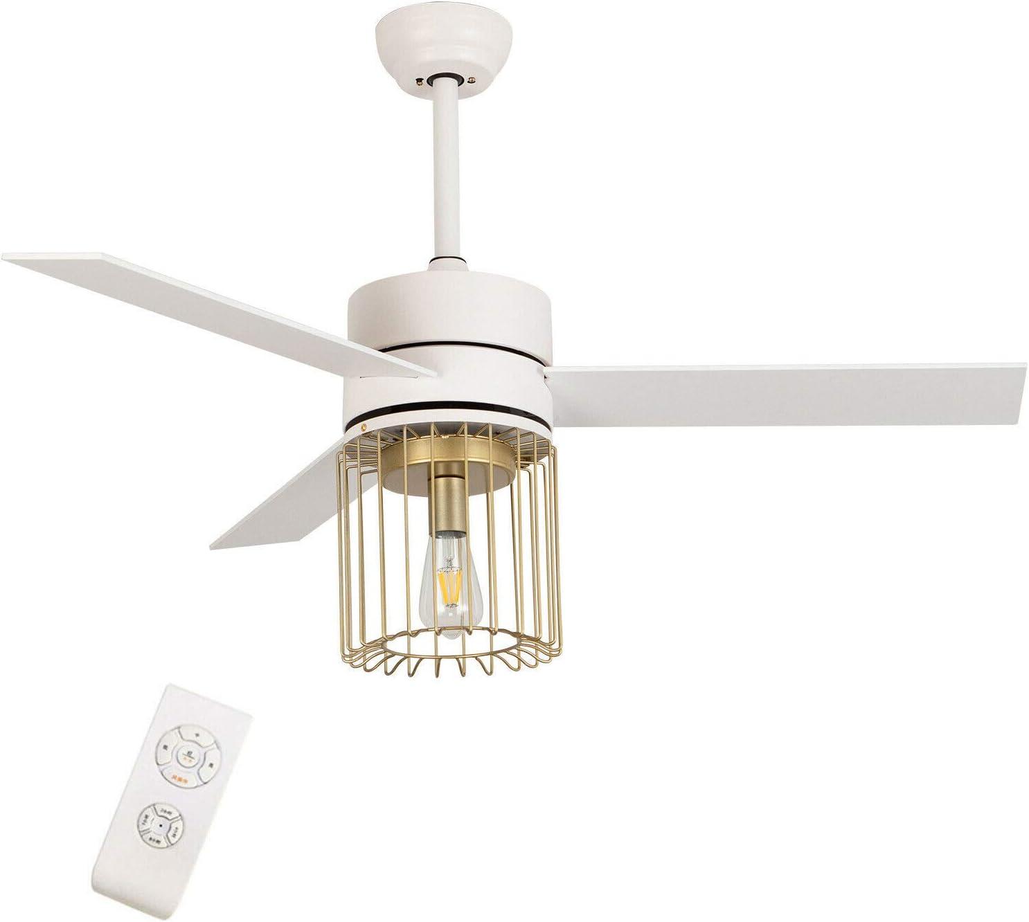 SHZICMY Ventilador de techo de 132 cm con iluminación de 3 velocidades, moderna jaula, luces con 3 cuchillas de madera con mando a distancia, color blanco, para comedor, dormitorio, salón