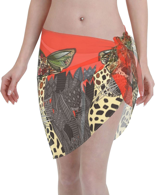 Jeezhub Boho Leopard Women Short Sarongs Beach Wrap Sheer Bikini Wraps Chiffon Cover Ups for Swimwear Black