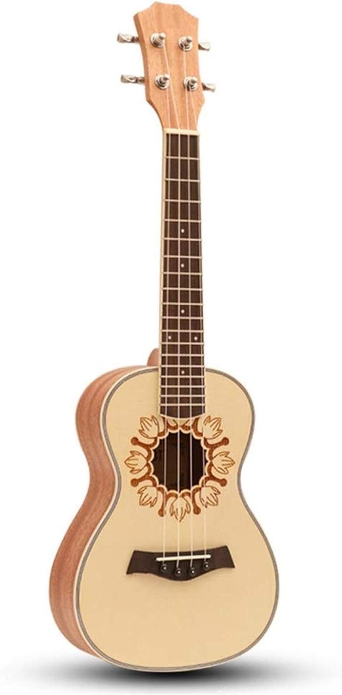 WYKDL Verde Surf Ukelele Soprano por ZQ pequeña Guitarra for Principiantes de Placa única Chica Estudiante Adulto Niño 23 Pulgadas Folk Sakura Instrumento Musical
